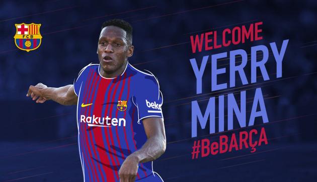El colombiano Yerri Mina se convirtió en el nuevo jugador del FC Barcelona