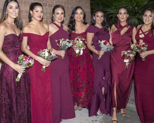Las damas del cortejo de la novia en la boda Kattán Fonseca
