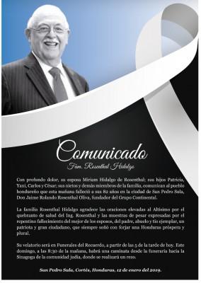 Comunicado Muerte Jaime Rosenthal