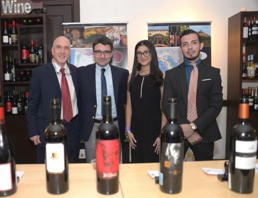 Jorge Kosak, María José Deras, Bojan Tosic y Daniel Sabillón en el World Wine Tour 2019 de Hotel InterContinental