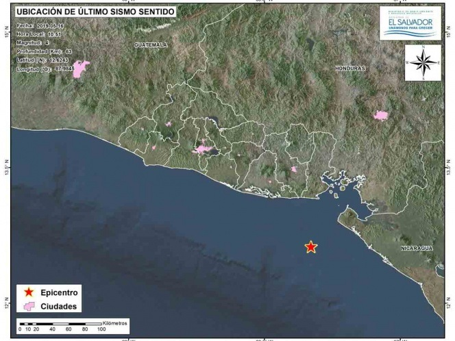 Sismo de magnitud 5.7 remeció Nicaragua y El Salvador