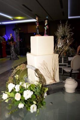 El exquisito y llamativo pastel de bodas fue elaboración de Eva Caballero