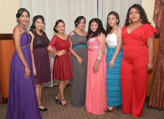 Katherine Flores, Mónica Ramos, Dilia Acosta, Abigaíl García, Sindy Cálix, Sandra Acosta y Asly Álvarez.