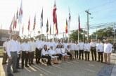 """Izamiento de pabellones de naciones amigas en la nueva """"Plaza de Banderas"""" de San Pedro Sula"""
