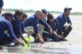 Liberan 900 crías de tortugas golfinas al clausurar proyecto de conservación en el Golfo de Fonseca