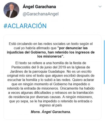 Angel Garachana aclaratoria