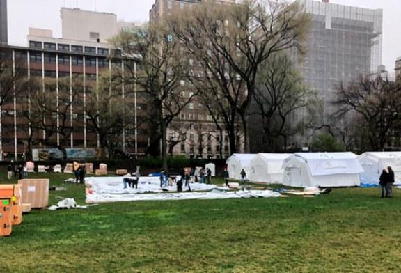 Instalan en Central Park de Nueva York hospital móvil para tratar pacientes con COVID-19