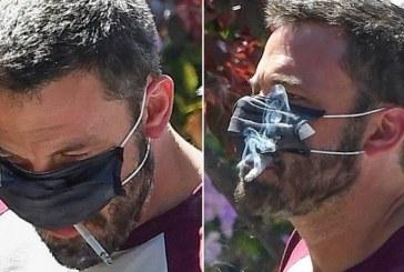 Imágenes de Ben Affleck de la singular forma de usar mascarilla sin dejar de fumar