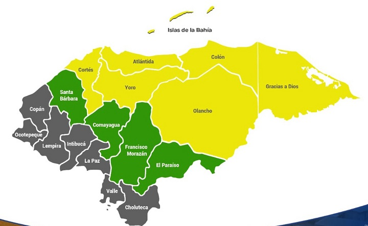 Alerta amarilla en 7 departamentos de Honduras por tormenta tropical ETA