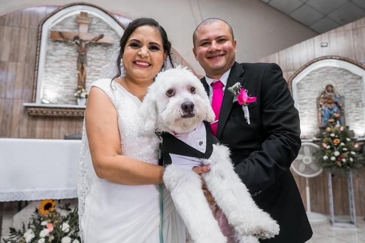 """Su mascota """"Bruno"""" el invitado espacial en la boda de Alba Molina y Danny Altamirano"""
